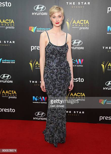 Elizabeth Debicki poses on the red carpet for the 5th AACTA Awards at The Star on December 9 2015 in Sydney Australia