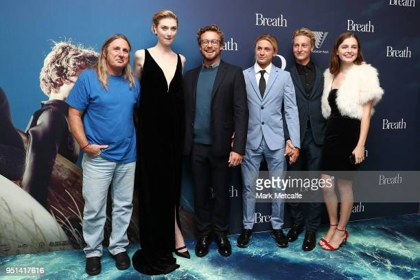 Elizabeth Debicki Tim Winton Simon Baker Ben Spence and Samson Coulter pose during the Breath Sydney Red Carpet Premiere at The Ritz Cinema on April...
