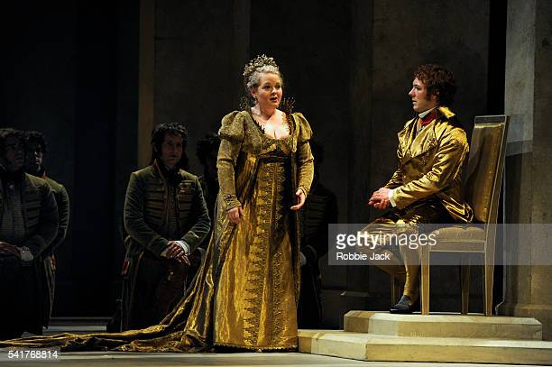 Elizabeth DeShong as Cenerentola and Taylor Stayton as Don Ramiro with artists of the company in Glyndebourne's production of Gioachino Rossini's La...