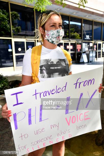 Elizabeth Dinon from Philadelphia gathers with supporters of Britney Spears outside a courthouse in downtown for a #FreeBritney protest as a hearing...