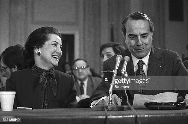 Elizabeth Dole, President Reagan's choice to be new Secretary of Transportation, is introduced at her nomination hearing January 26 by her husband,...