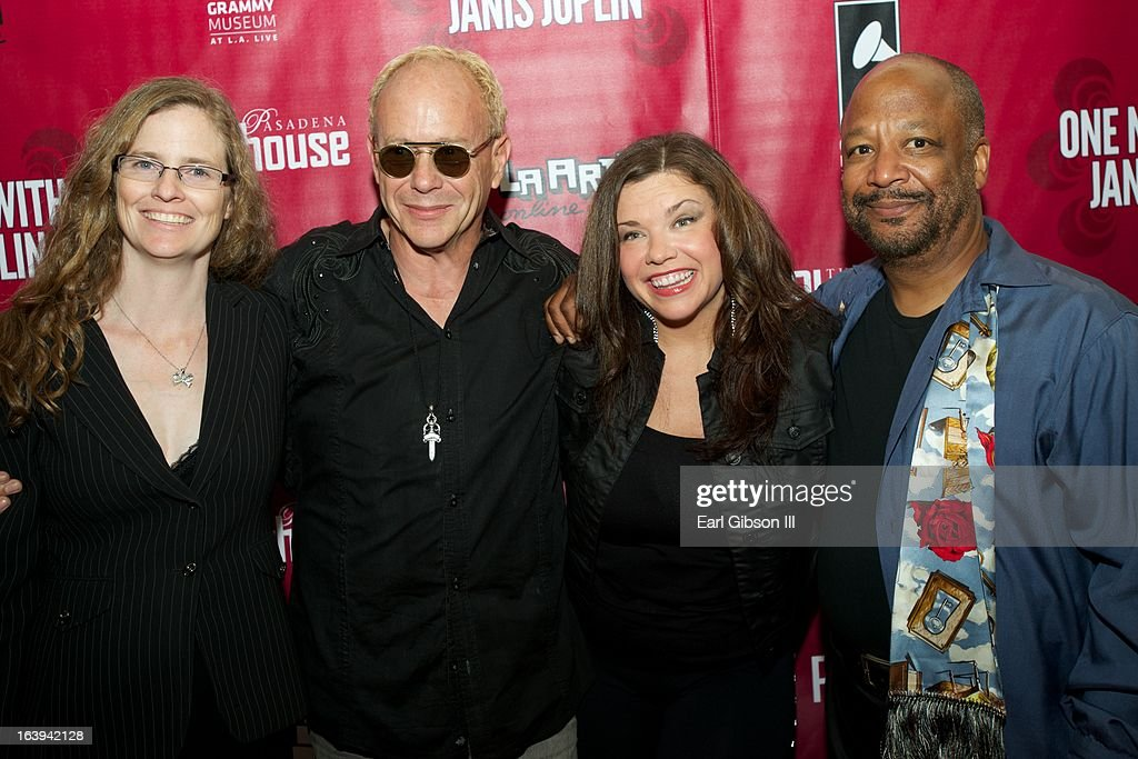 Elizabeth Doran, Randy Johnson, Mary Bridget Davies and Sheldon Epps pose for a photo on the opening night performance of 'One Night With Janis Joplin' at Pasadena Playhouse on March 17, 2013 in Pasadena, California.