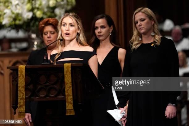 Elizabeth Dwen Andrews reads scripture during a funeral service for former President George HW Bush at St Martins Episcopal Church on December 6 2018...