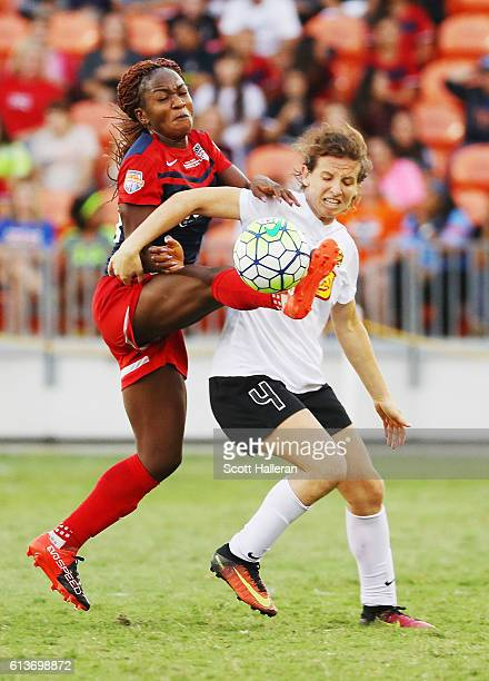 Elizabeth Eddy of the Western New York Flash battles for the ball with Francisca Ordega of the Washington Spirit during the second half of the 2016...