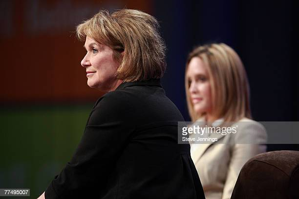 Elizabeth Edwards and Jeri Thompson speak during a Conversation with Presidential Spouses discussion at the Women's Conference 2007 held at the Long...