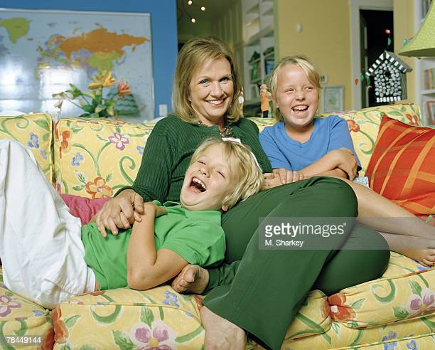 Elizabeth Edwards poses for a portrait session at her her home in North Carolina with son Jack and daughter Emma Claire
