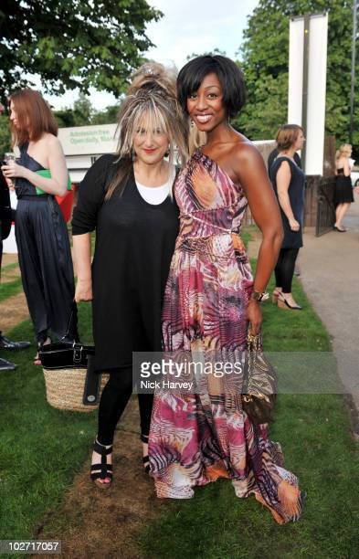 Elizabeth Emmanuel and Beverley Knight attend the annual Serpentine Gallery summer party at The Serpentine Gallery on July 8 2010 in London England