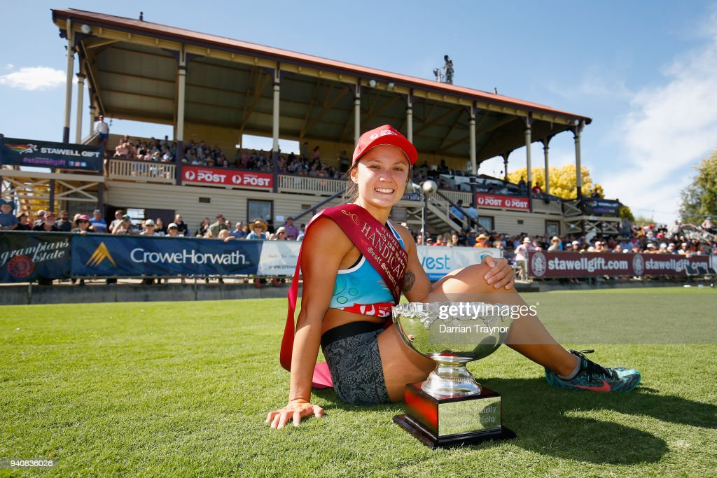 Elizabeth Forsyth poses with the the winners trophie after Stawell Gift on April 2, 2018 in Stawell, Australia.