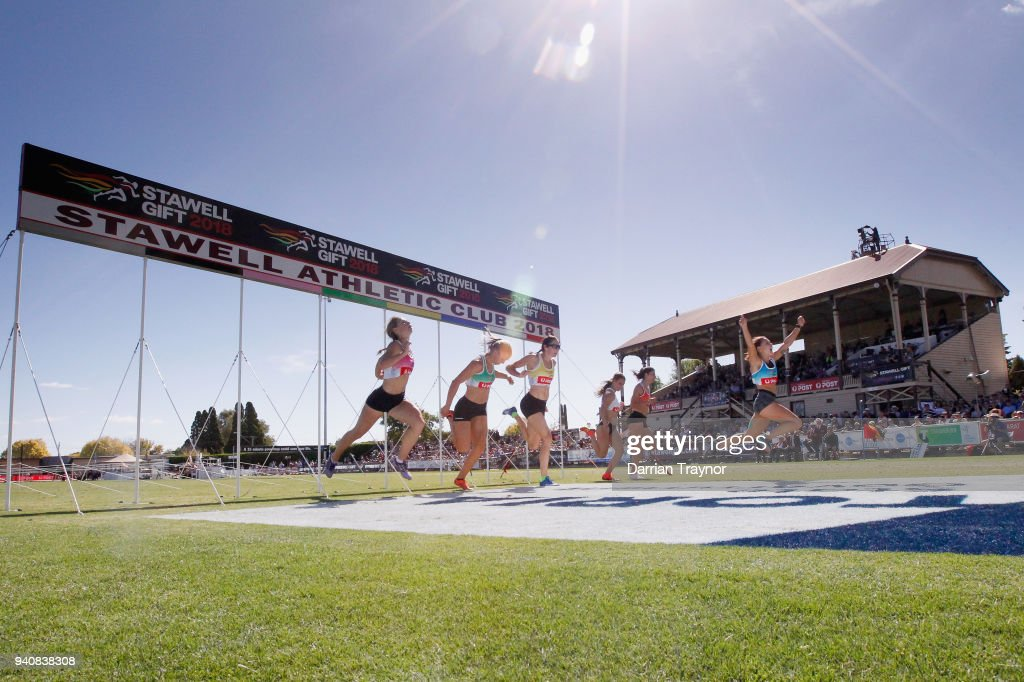 Elizabeth Forsyth wins the Women's Stawell Gift on April 2, 2018 in Stawell, Australia.