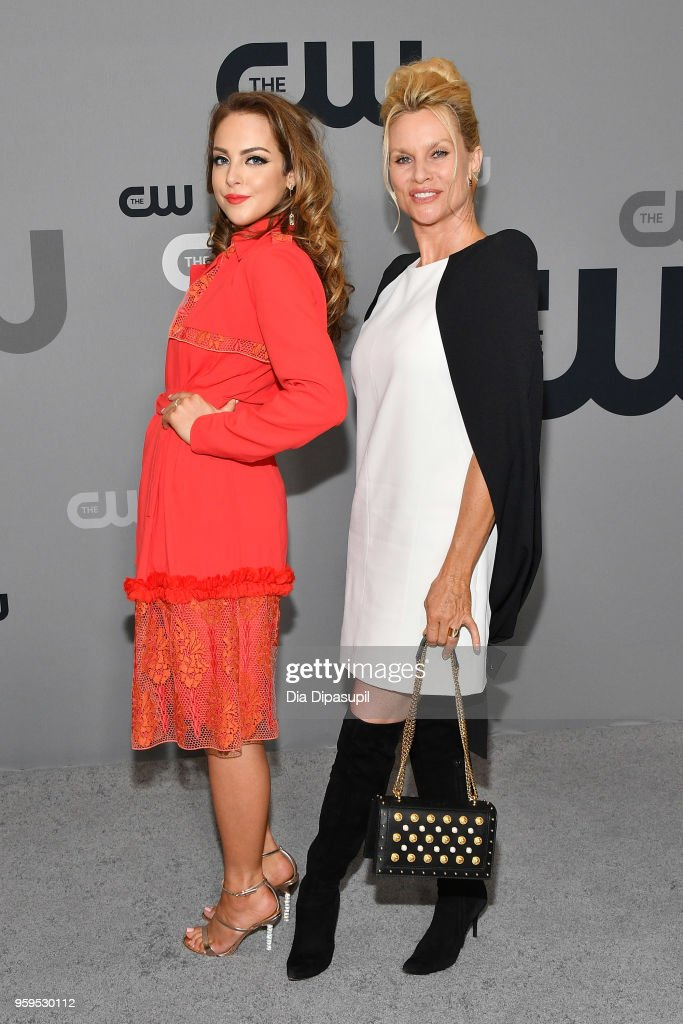 Elizabeth Gillies and Nicollette Sheridan attend the 2018 CW Network Upfront at The London Hotel on May 17, 2018 in New York City.