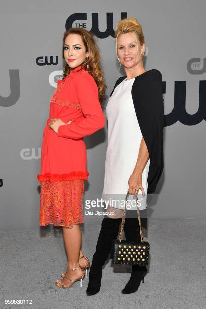 Elizabeth Gillies and Nicollette Sheridan attend the 2018 CW Network Upfront at The London Hotel on May 17 2018 in New York City