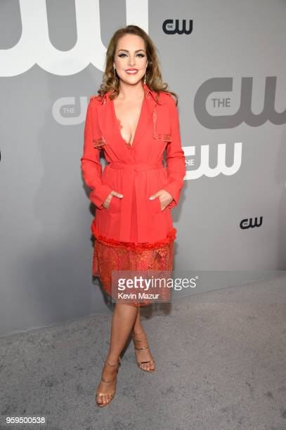 Elizabeth Gillies attends The CW Network's 2018 upfront at The London Hotel on May 17 2018 in New York City