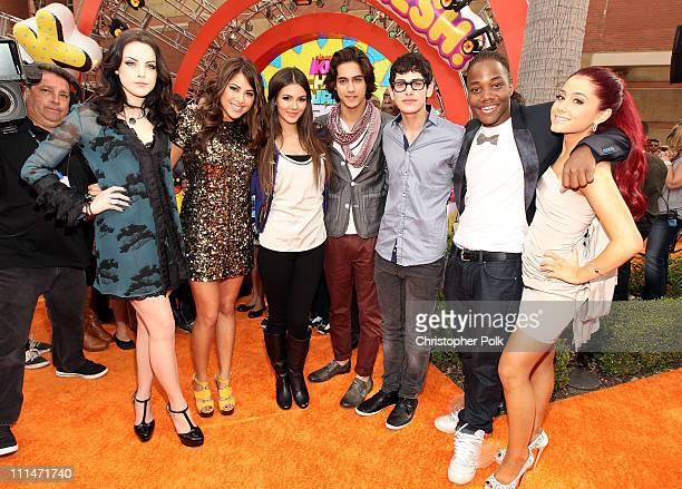 Elizabeth Gillies Daniella Monet Victoria Justice Avan Jogia Matt Bennett Leon Thomas III and Ariana Grande arrive at Nickelodeon's 24th Annual Kids'...