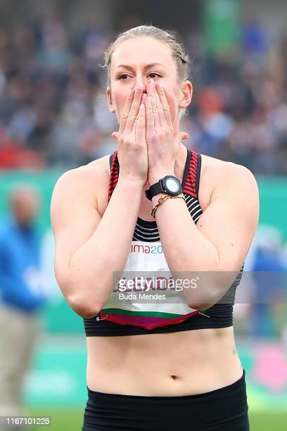 Elizabeth Gleadle of Canada competes in Women's Javelin Throw Finalon Day 14 of Lima 2019 Pan American Games at Athletics Stadium of Villa Deportiva...