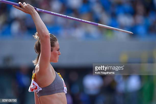 Elizabeth Gleadle of Canada in action during the Women's Javelin during the SEIKO Golden Grand Prix 2016 at Todoroki Stadium on May 8, 2016 in...