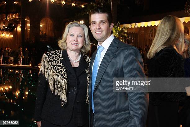 Elizabeth Grau and nephew Donald Trump Jr. Attend the Andrea Bocelli concert at The Mar-a-Lago Club on February 28, 2010 in Palm Beach, Florida.