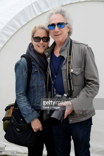 Elizabeth Gruen and photographer Bob Gruen pose backstage at the Barclaycard Presents British Summer Time Festival in Hyde Park on July 1, 2017 in...