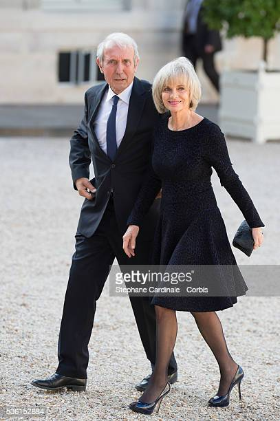 Elizabeth Guigou and her husband arrive at the State Dinner offered by French President François Hollande at the Elysee Palace on June 2 2015 in...