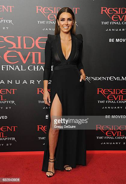 "Elizabeth Gutierrez arrives at the premiere of Sony Pictures Releasing's ""Resident Evil: The Final Chapter"" at Regal LA Live: A Barco Innovation..."