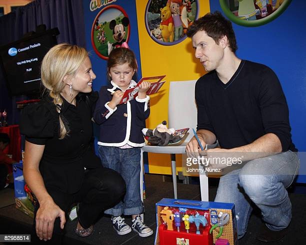 Elizabeth Hasselbeck Grace Hasselbeck and Eric Mabius attend the Playhouse Disney unveiling of preschool toys and electronics at Toys R Us in Times...