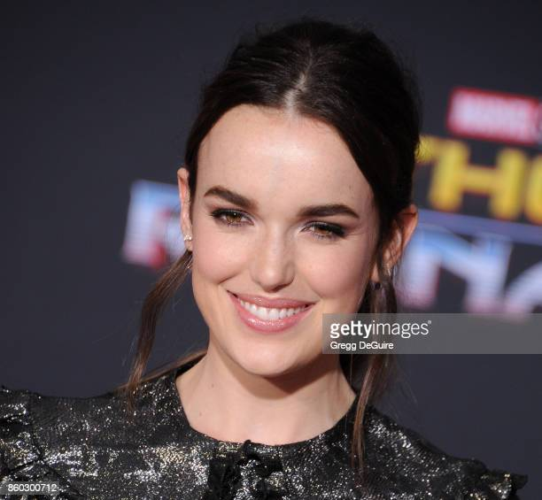 Elizabeth Henstridge arrives at the premiere of Disney and Marvel's Thor Ragnarok at the El Capitan Theatre on October 10 2017 in Los Angeles...