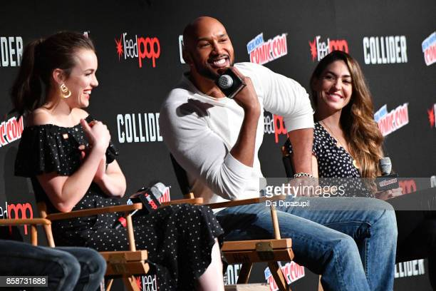 Elizabeth Henstridge Henry Simmons and Natalia CordovaBuckley speak at the Marvel's Agents of SHIELD panel during 2017 New York Comic Con Day 3 on...