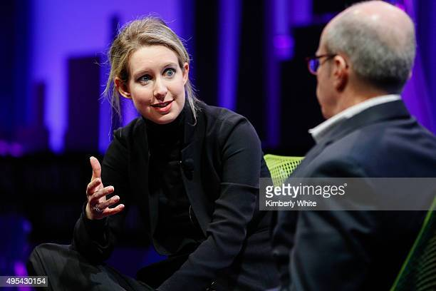Elizabeth Holmes and Alan Murray speak at the Fortune Global Forum at the Fairmont Hotel on November 2 2015 in San Francisco California