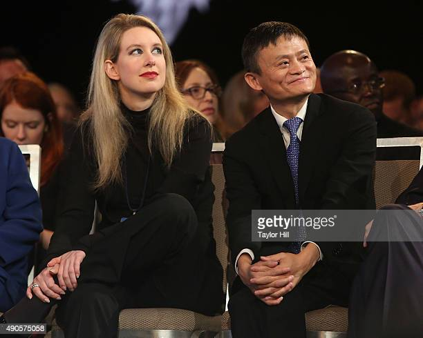 Elizabeth Holmes and Jack Ma attend the 2015 Clinton Global Initiative Closing Plenary at Sheraton Times Square on September 29 2015 in New York City