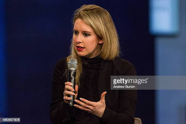 Elizabeth Holmes founder and CEO of Theranos speaks at the Clinton Global Initiative's closing session on September 29 2015 in New York City The...