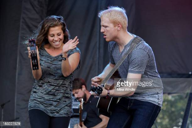 Elizabeth Hopkins and Ian Holljes of Delta Rae perform onstage during Day 2 of the 2013 Austin City Limits Music Festival at Zilker Park on October...