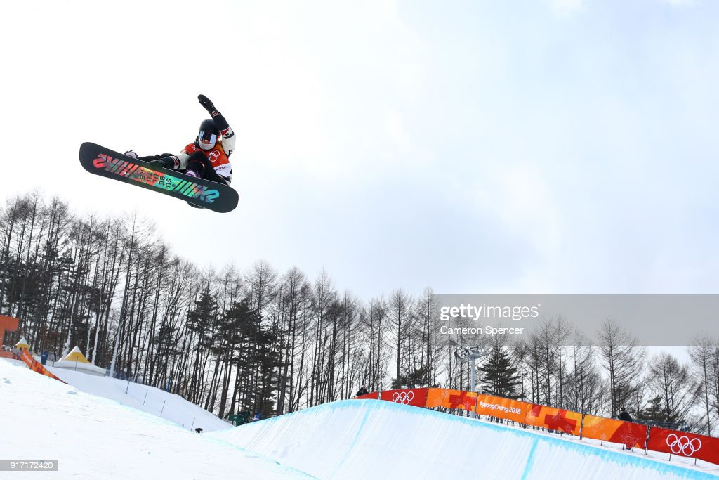Elizabeth Hosking of Canada competes in the Snowboard Ladies' Halfpipe Qualification on day three of the PyeongChang 2018 Winter Olympic Games at Phoenix Snow Park on February 12, 2018 in Pyeongchang-gun, South Korea.