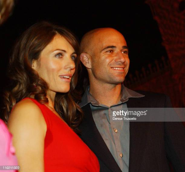 Elizabeth Hurley and Andre Agassi during Think Pink Breast Cancer Awareness Illumination Event at The Venetian Hotel and Casino Resort at The...