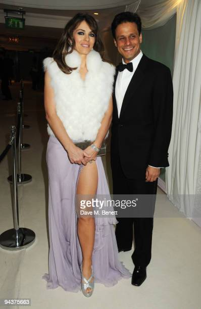 Elizabeth Hurley and Arun Nayar attend the Grey Goose Character Cocktails Winter Fundraiser Ball in aid of the Elton John AIDS Foundation at the Grey...