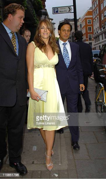 Elizabeth Hurley and Arun Nayer during Derby Festival Magazine 2007 Launch at Crockfords in London Great Britain