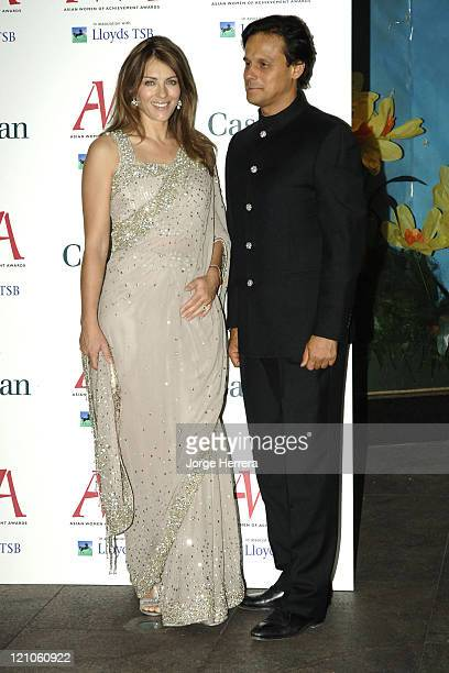 Elizabeth Hurley and Arun Nayer during The Asian Women of Achievement Awards – Arrivals at London Hilton on Park Lane in London Great Britain