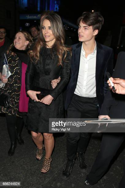 Elizabeth Hurley and Damian Hurley attend An American in Paris press night at Dominion Theatre on March 21 2017 in London England