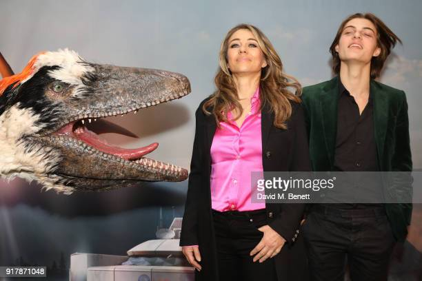 Elizabeth Hurley and Damian Hurley attend the launch of Dinosaurs in the Wild at Greenwich Peninsula on February 13 2018 in London England