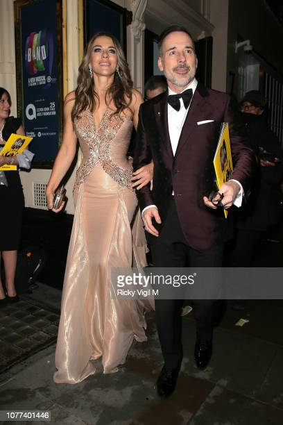Elizabeth Hurley and David Furnish seen attending The Band charity gala performance at Theatre Royal Haymarket on December 04 2018 in London England