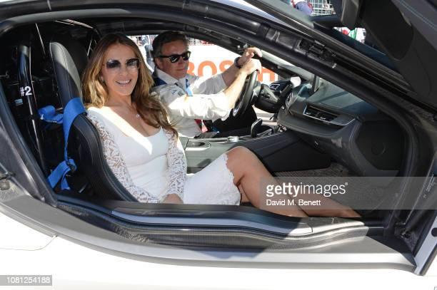 Elizabeth Hurley and Formula E CEO Alejandro Agag attend the ABB FIA Formula E 2019 Marrakesh EPrix on January 12 2019 in Marrakesh Morocco