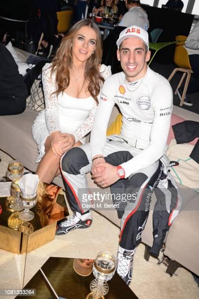 Elizabeth Hurley and Formula E racing driver Sebastien Buemi attend the ABB FIA Formula E 2019 Marrakesh E-Prix on January 12, 2019 in Marrakesh,...