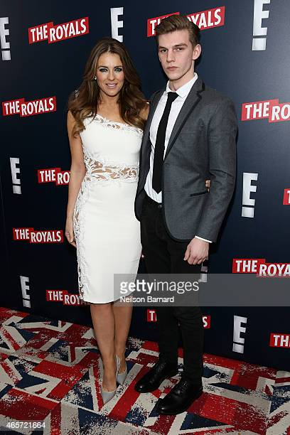 Elizabeth Hurley and her nephew Miles Hurley attend 'The Royals' New York Series Premiere at The Standard Highline on March 9 2015 in New York City