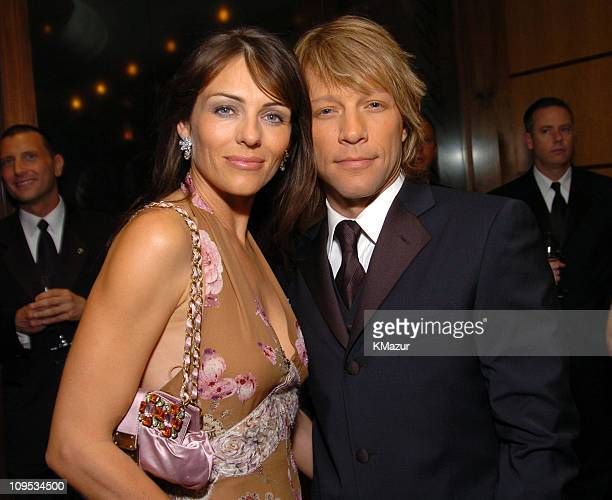 Elizabeth Hurley and Jon Bon Jovi during Entertainment Industry Foundation's Colon Cancer Benefit on the QM2 VIP Cocktail Hour at Queen Mary 2 in New...