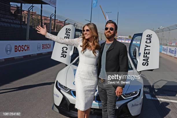 Elizabeth Hurley and Justin Theroux attend the ABB FIA Formula E 2019 Marrakesh EPrix on January 12 2019 in Marrakesh Morocco