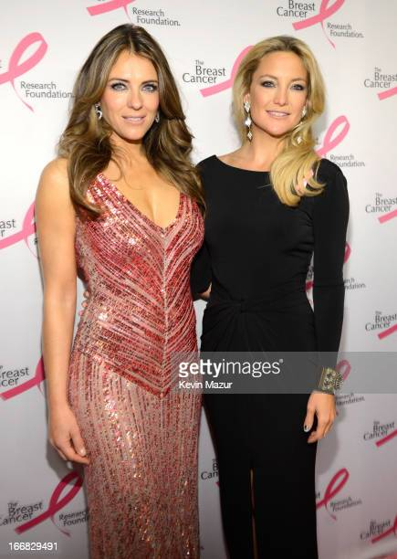 Elizabeth Hurley and Kate Hudson attend the Breast Cancer Foundation's Hot Pink Party at the Waldorf Astoria Hotel on April 17 2013 in New York City
