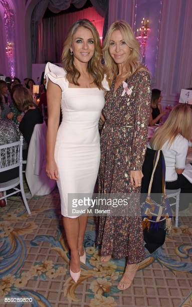 """Elizabeth Hurley and Melissa Odabash attend the Future Dreams """"Make Your Mark"""" ladies lunch at The Savoy Hotel on October 9, 2017 in London, England."""
