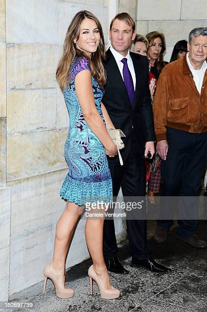 Elizabeth Hurley and Shane Warne attend the Roberto Cavalli Spring/Summer 2013 fashion show as part of Milan Womenswear Fashion Week on September 24...