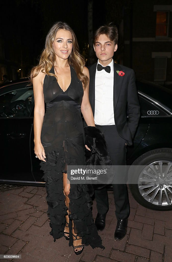 Elizabeth Hurley and son Damian arrive in an Audi at The London Evening Standard Theatre Awards at The Old Vic Theatre on November 13, 2016 in London, England.