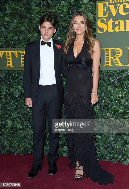 Elizabeth Hurley and son Damian attend The London Evening Standard Theatre Awards at The Old Vic Theatre on November 13 2016 in London England