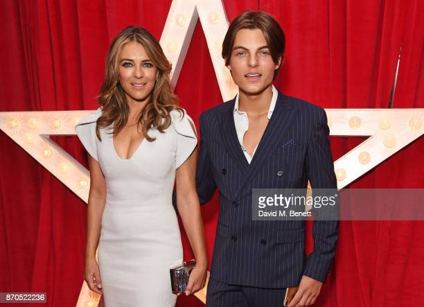 "Elizabeth Hurley and son Damian Hurley attend the World Premiere of ""Paddington 2"" at Odeon Leicester Square on November 5, 2017 in London, England."