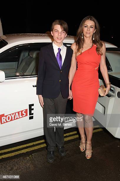 Elizabeth Hurley and son Damien Hurley attend the 'The Royals' UK premiere party at the Mandarin Oriental Hyde Park on March 24 2015 in London...